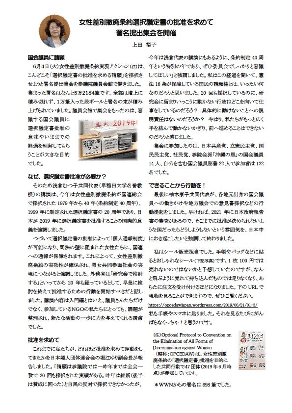 2)女性差別撤廃条約選択議定書の批准を求めて・・・  上田さん 2019.7.10修正